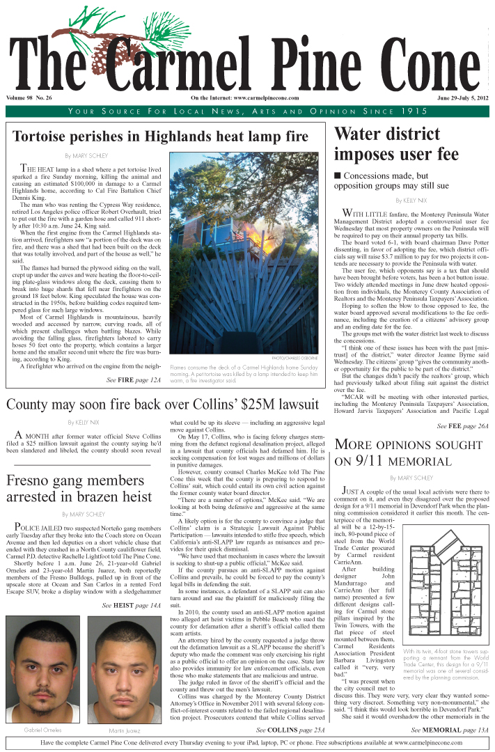 The June 29, 2012,                 front page of The Carmel Pine Cone
