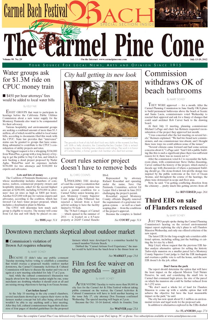 The July 13, 2012,                 front page of The Carmel Pine Cone