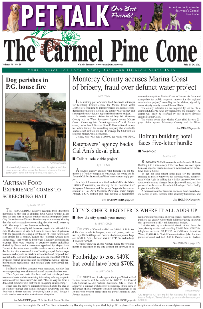 The July 20, 2012,                 front page of The Carmel Pine Cone