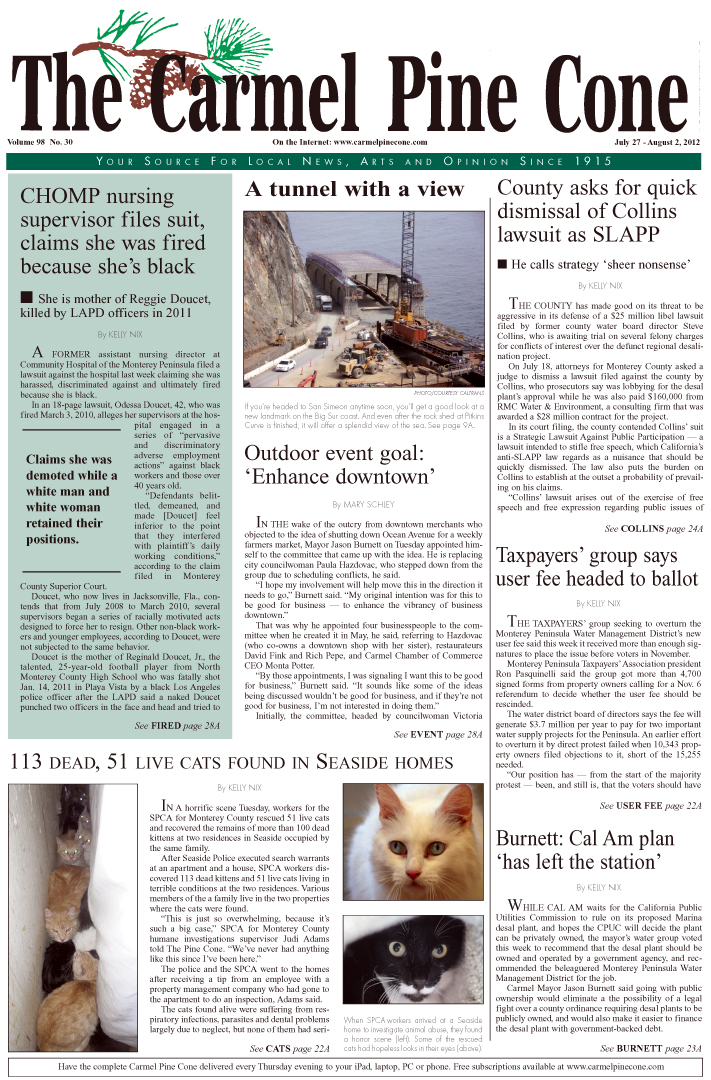 The July 27, 2012,                 front page of The Carmel Pine Cone