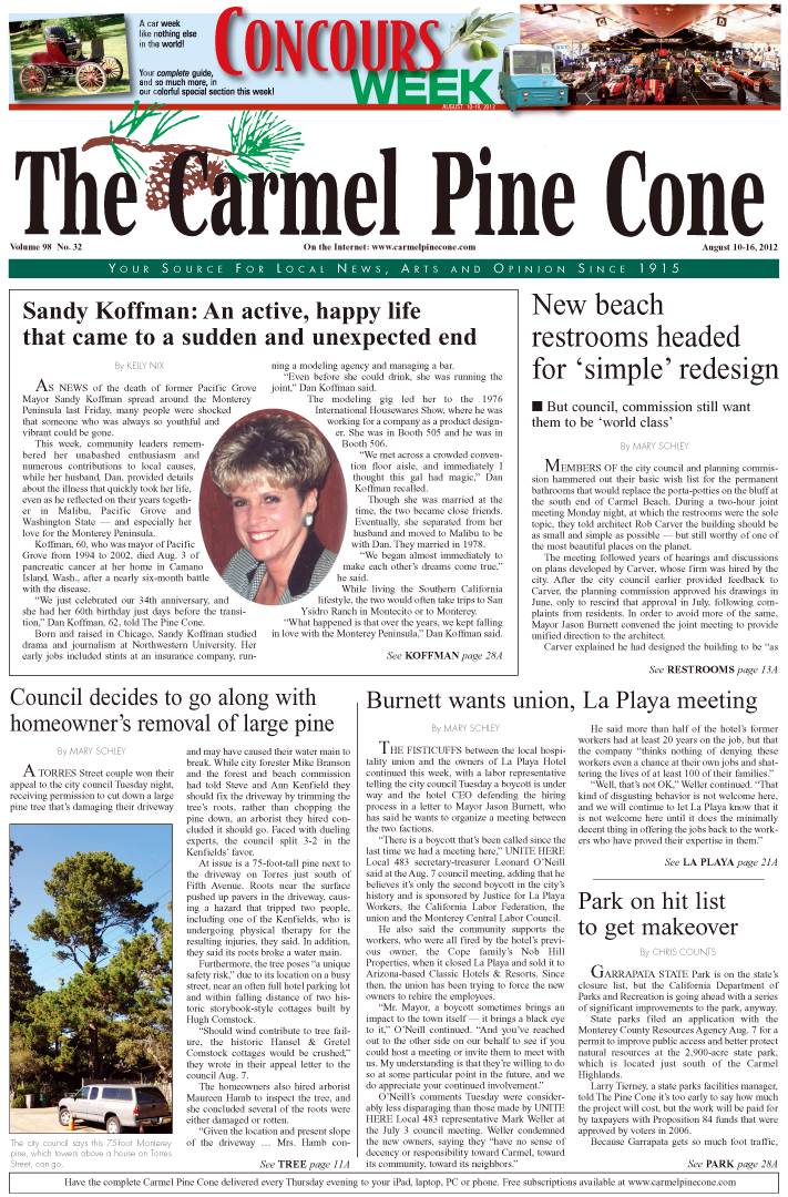 The August 3, 2012,                 front page of The Carmel Pine Cone