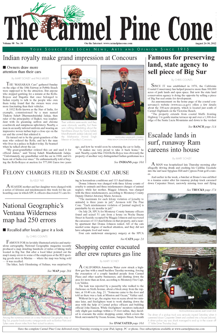 The August 24, 2012,                 front page of The Carmel Pine Cone