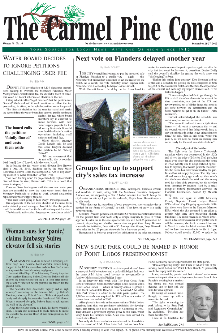 The September 7,                 2012, front page of The Carmel Pine Cone