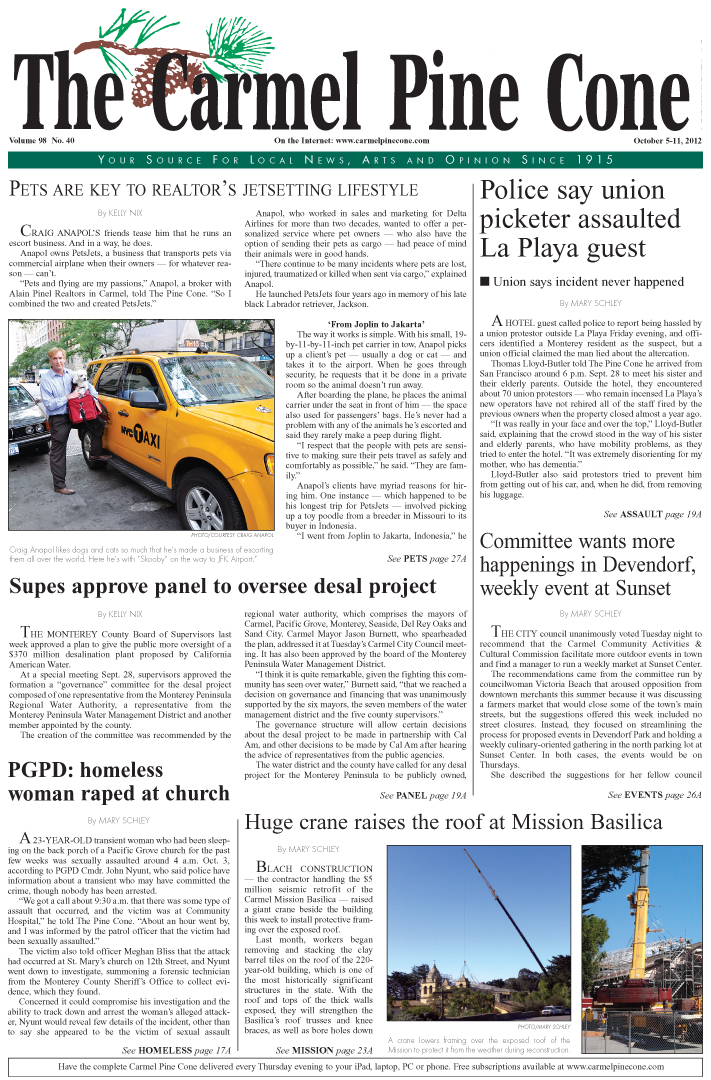 The October 5, 2012,                 front page of The Carmel Pine Cone