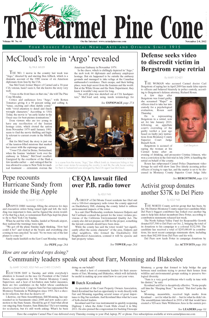 The November 2, 2012, front page of The Carmel Pine                 Cone