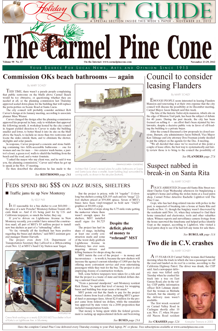 The November 23, 2012, front page of The Carmel                 Pine Cone