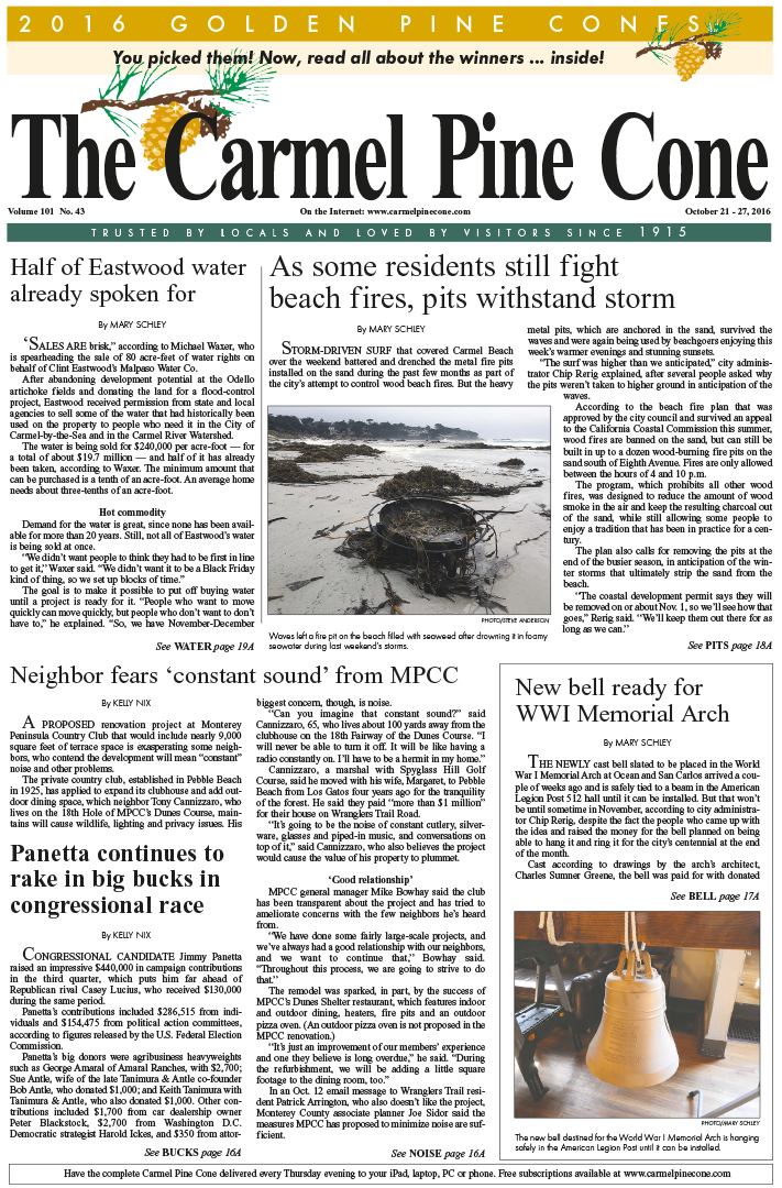 The                 October 21, 2016, front page of The Carmel Pine Cone