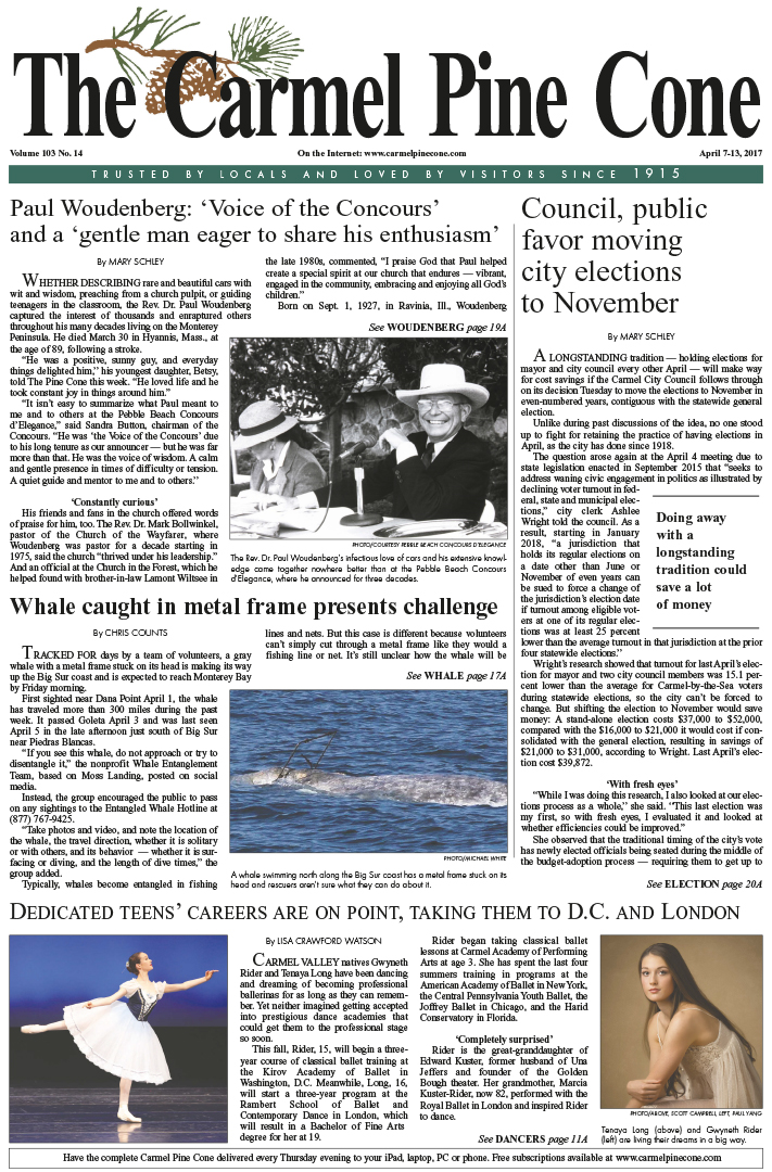 The April                 7, 2017, front page of The Carmel Pine Cone