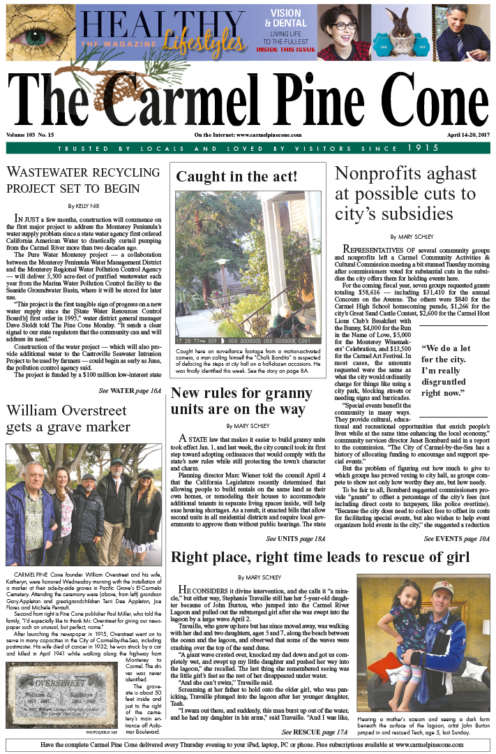 The April                 14, 2017, front page of The Carmel Pine Cone