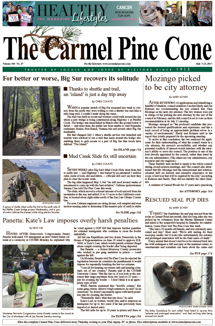 The July                 7, 2017, front page of The Carmel Pine Cone