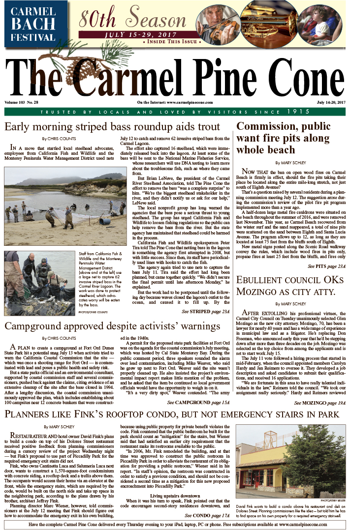 The July                 14, 2017, front page of The Carmel Pine Cone