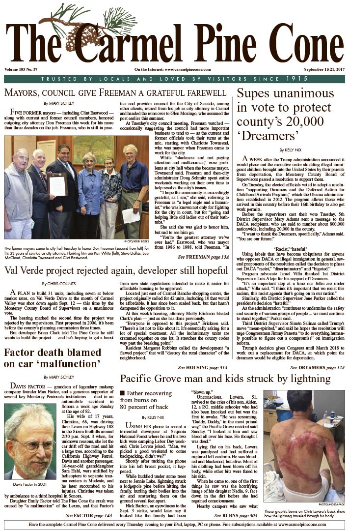 The                 September 8, 2017, front page of The Carmel Pine Cone