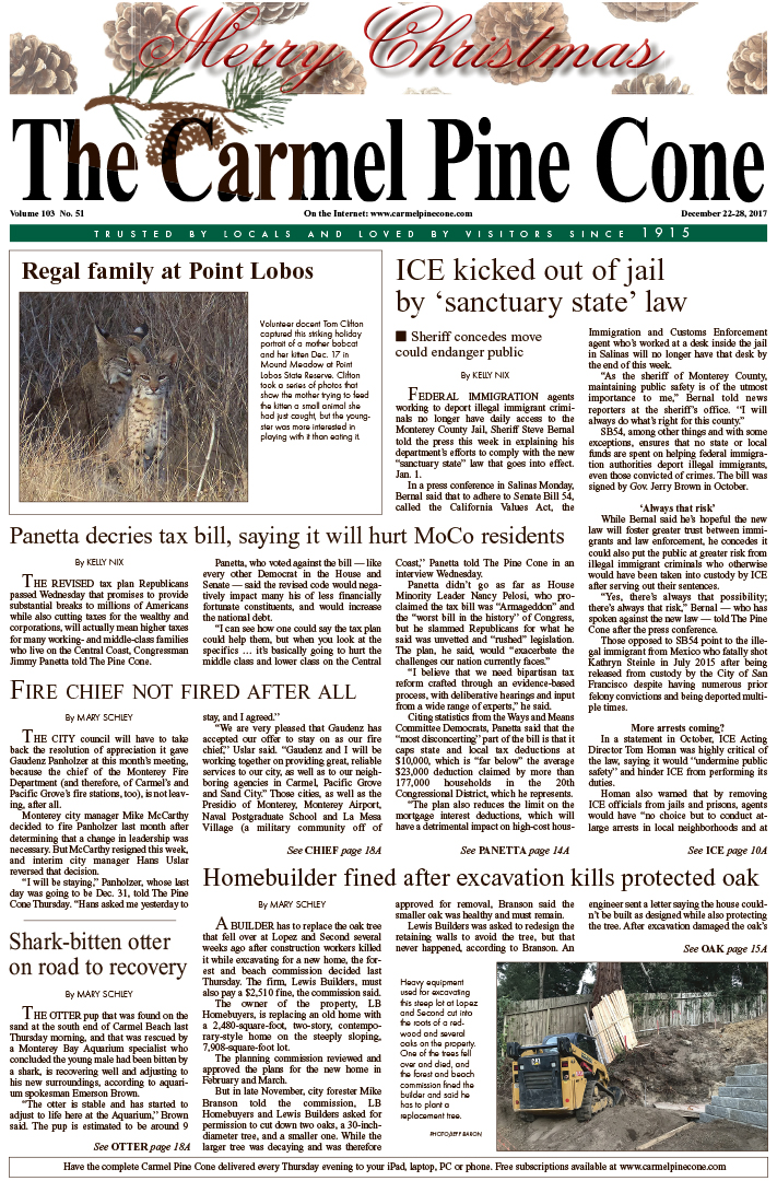 The                 December 22, 2017, front page of The Carmel Pine Cone
