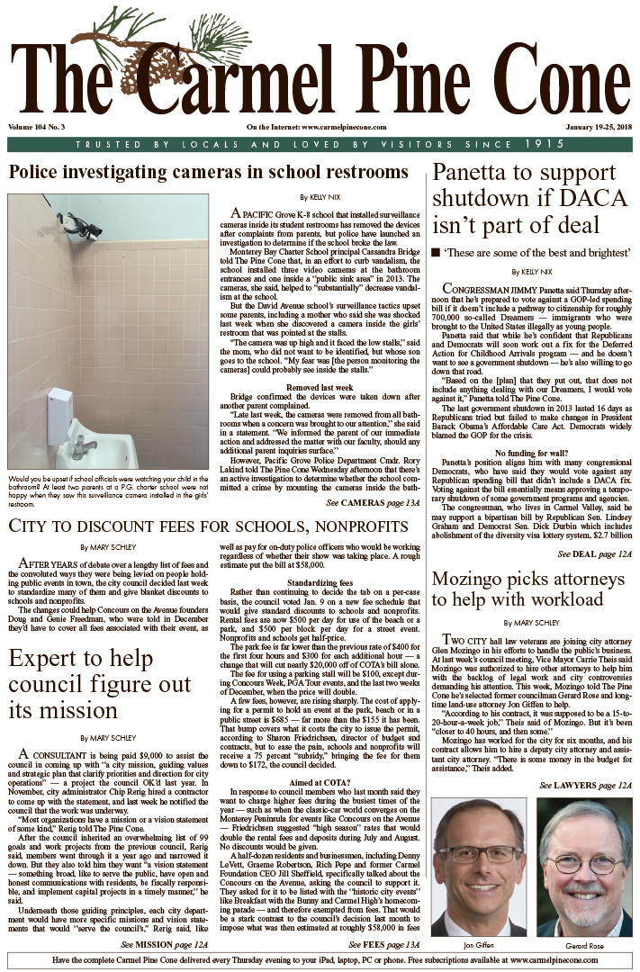 The                 January 19, 2018, front page of The Carmel Pine Cone