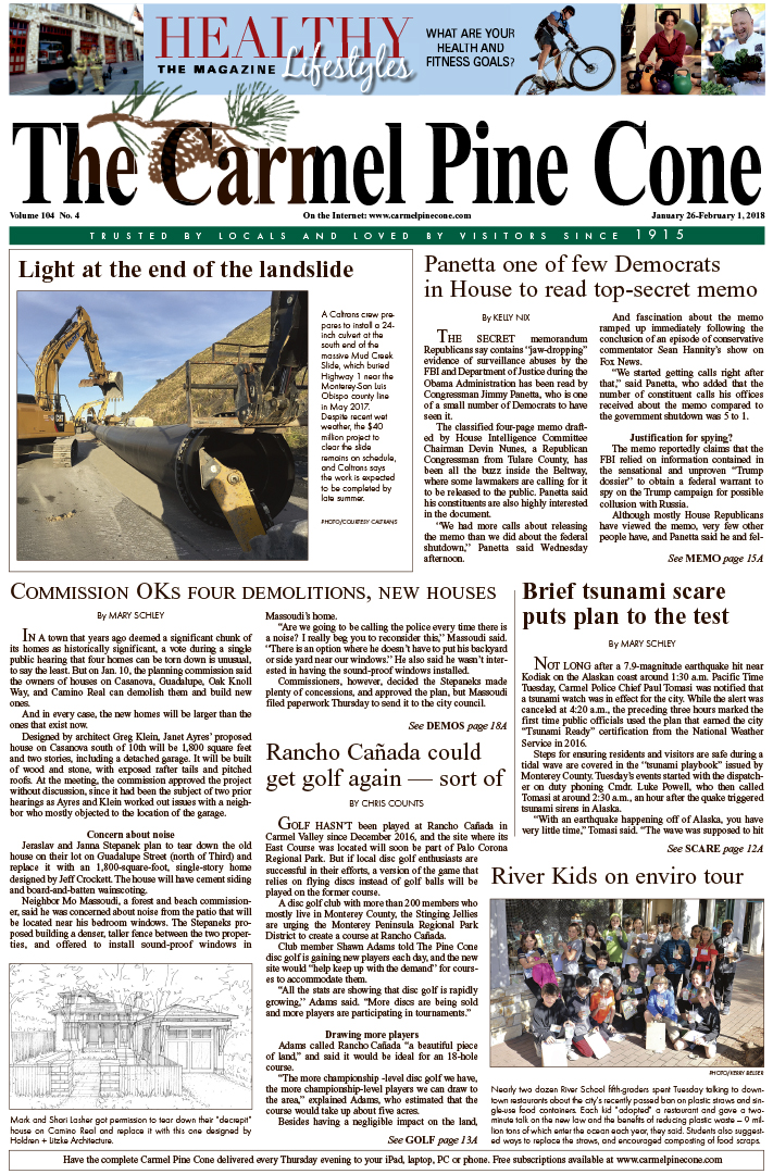 The                 January 26, 2018, front page of The Carmel Pine Cone
