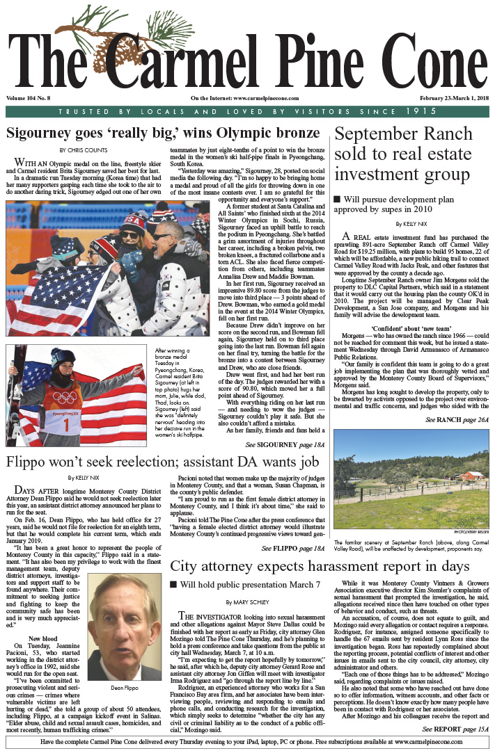 The                 February 23, 2018, front page of The Carmel Pine Cone