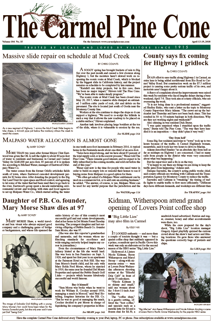 The April                 13, 2018, front page of The Carmel Pine Cone
