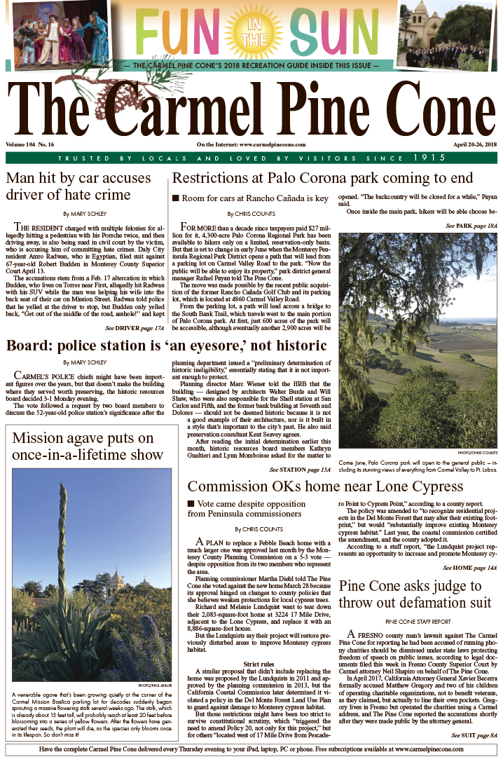 298621bab3ae The April 20, 2018, front page of The Carmel Pine Cone