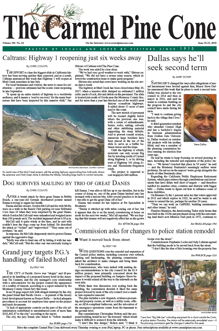 The June                 15, 2018, front page of The Carmel Pine Cone