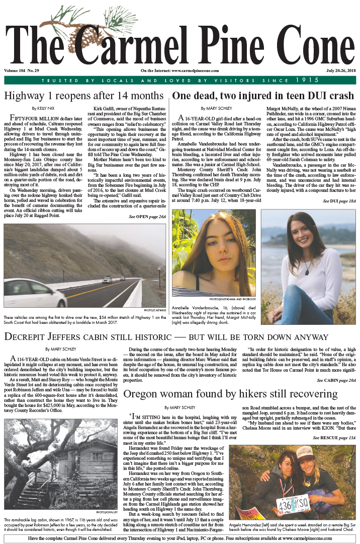 The June                 20, 2018, front page of The Carmel Pine Cone