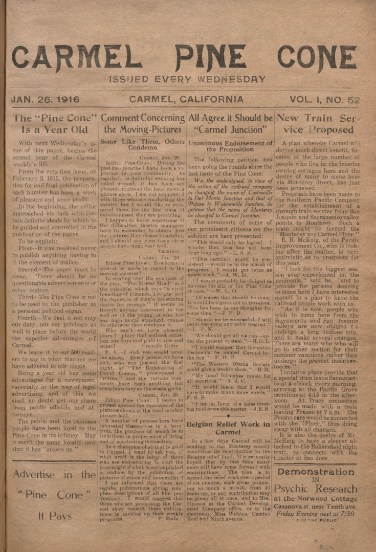 front page of the                 January 26, 1916, Carmel Pine Cone