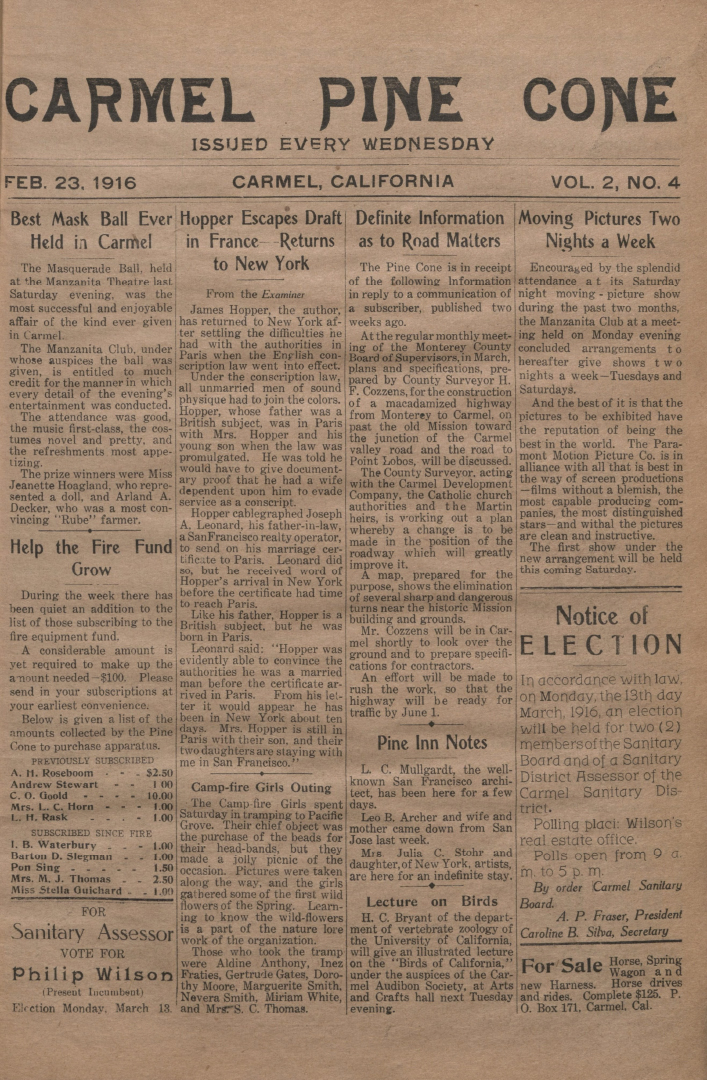 front page of the                 February 23, 1916, Carmel Pine Cone