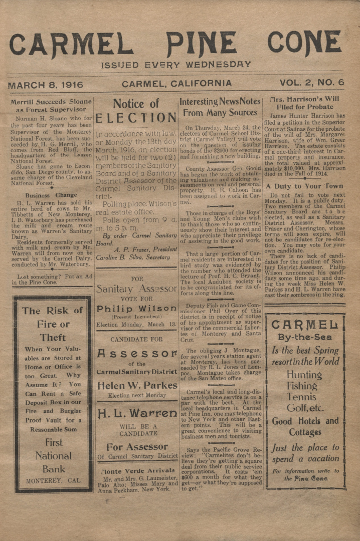 front page of the                 March 8, 1916, Carmel Pine Cone