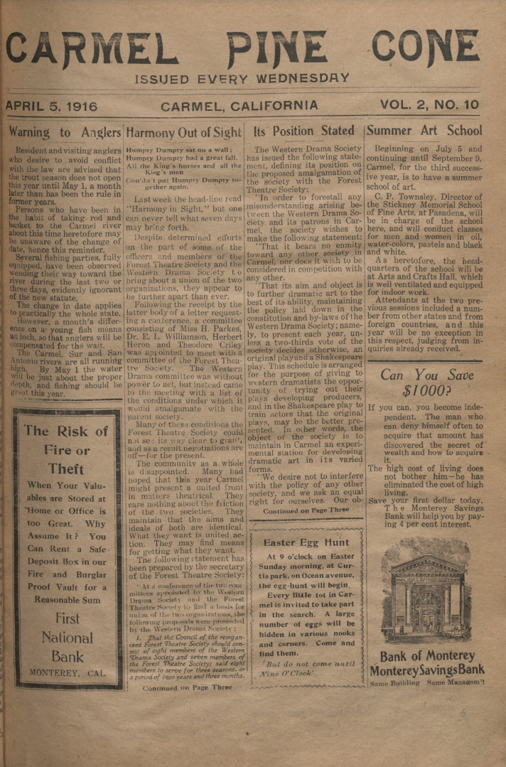 front page of the                 April 5, 1916, Carmel Pine Cone
