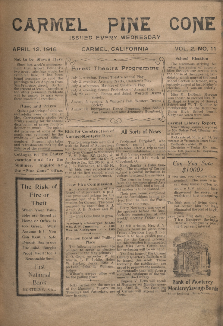 front page of the                 April 12, 1916, Carmel Pine Cone