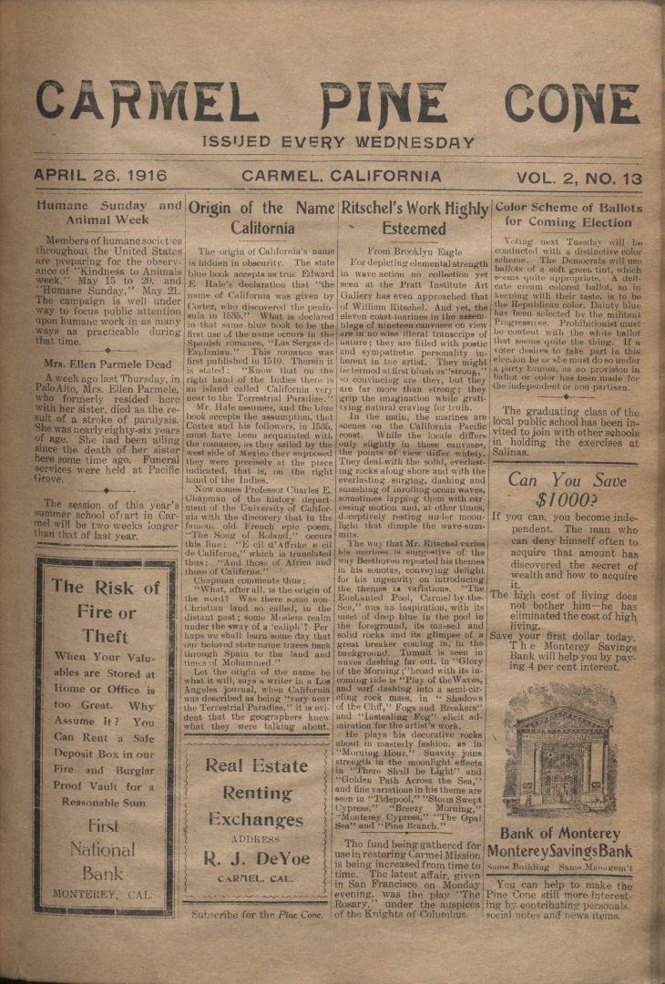 front page of the                 April 26, 1916, Carmel Pine Cone