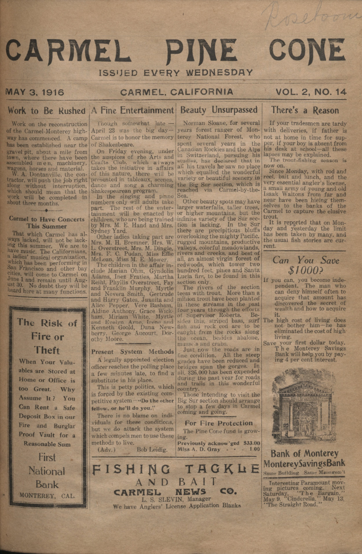 front page of the May                 3, 1916, Carmel Pine Cone