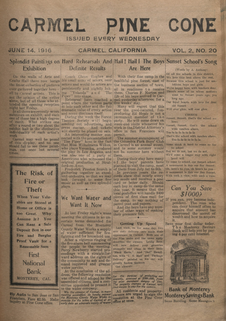 Front page of the                 June 14, 1916, Carmel Pine Cone
