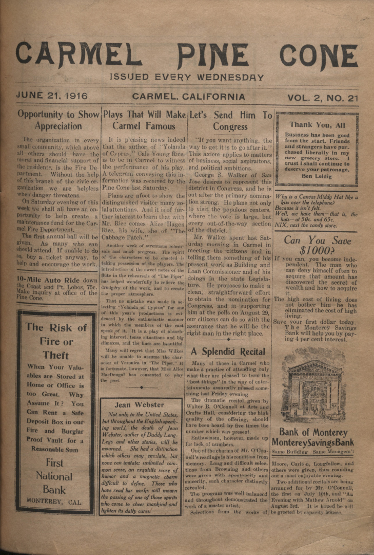 Front page of the                 June 21, 1916, Carmel Pine Cone