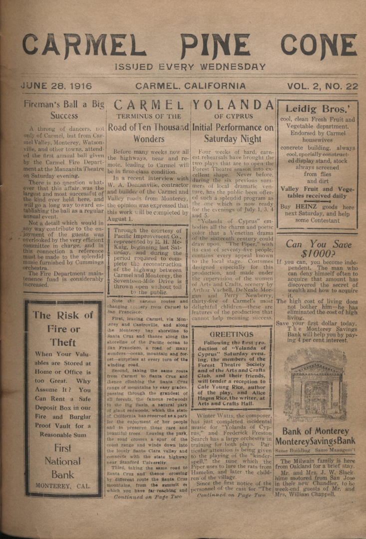 Front page of the                 June 28, 1916, Carmel Pine Cone