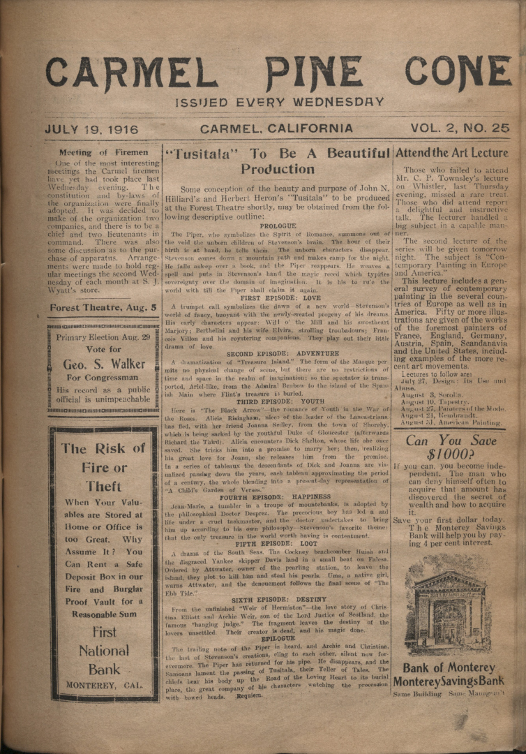 front page of the                 July 19, 1916, Carmel Pine Cone