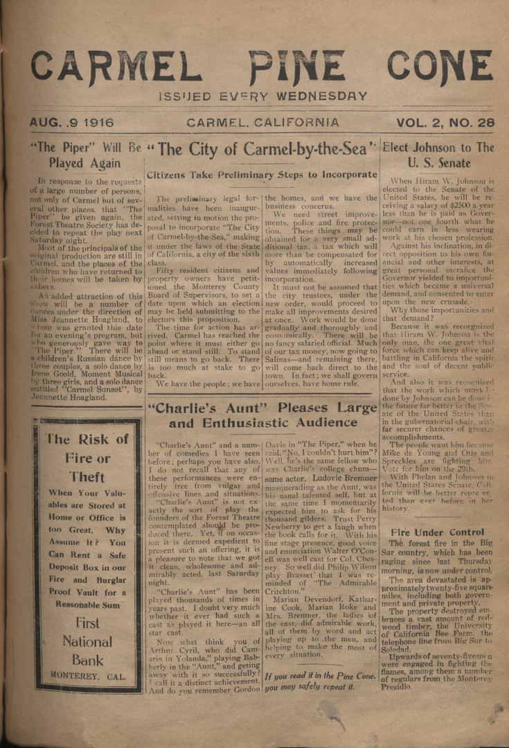 front page of the                 August 9, 1916, Carmel Pine Cone