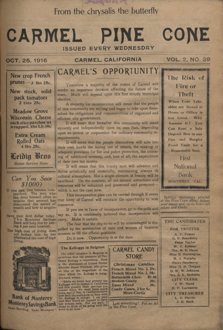 front page of the                 October 25, 1916, Carmel Pine Cone