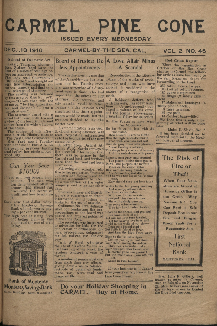 Front page of the                 December 13, 1916, Carmel Pine Cone