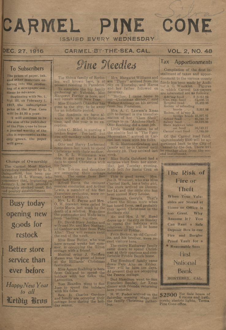Front page of the                 December 27, 1916, Carmel Pine Cone