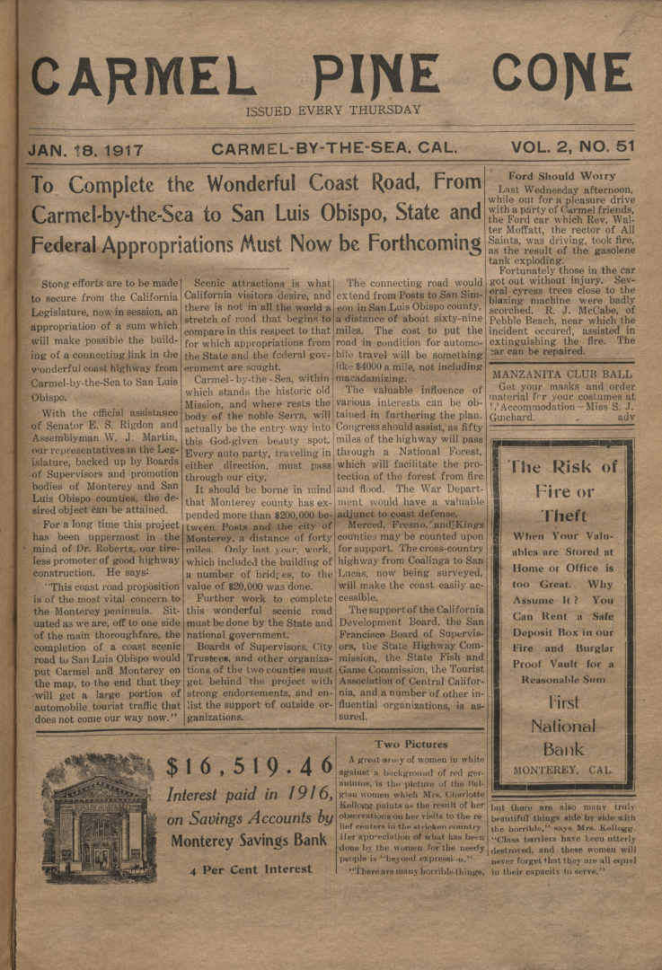 front page of the                 January 18, 1917, Carmel Pine Cone