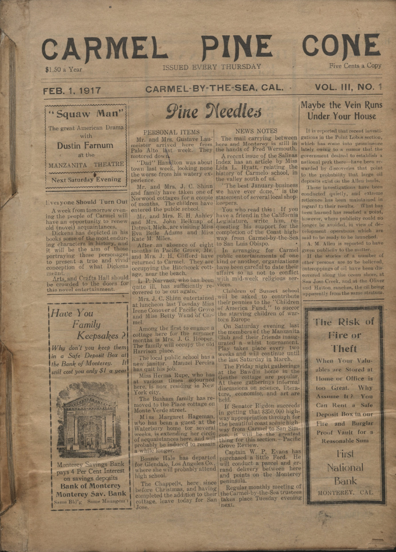 front page of the                 February 1, 1917, Carmel Pine Cone