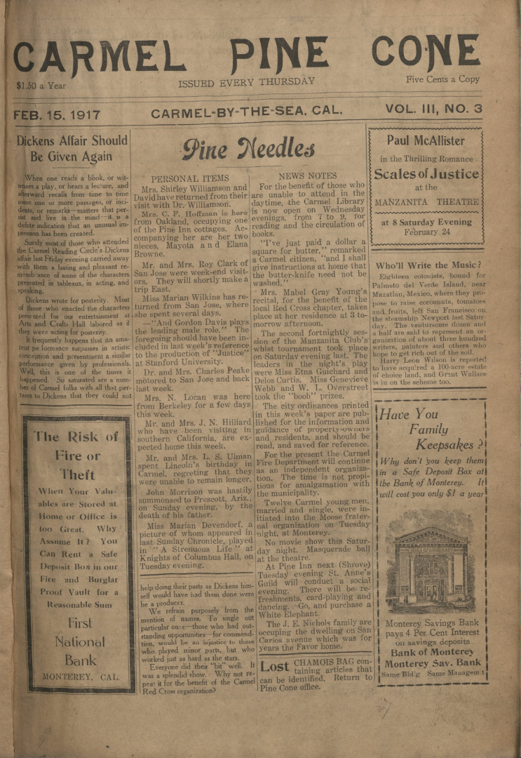 front page of the                 February 15, 1917, Carmel Pine Cone