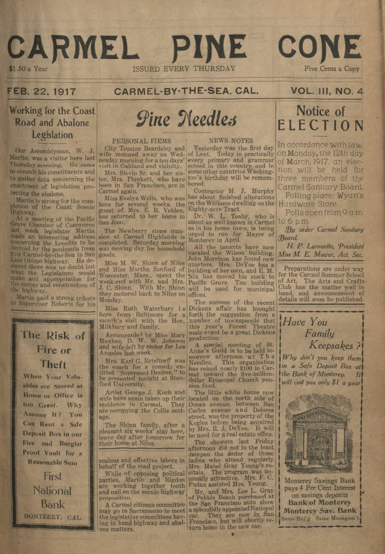 front page of the                 February 22, 1917, Carmel Pine Cone