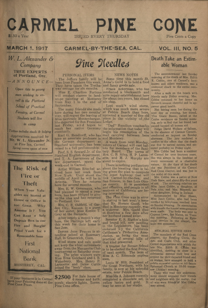 front page of the                 March 1, 1917, Carmel Pine Cone