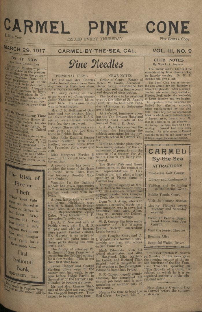front page of the                 March 29, 1917, Carmel Pine Cone