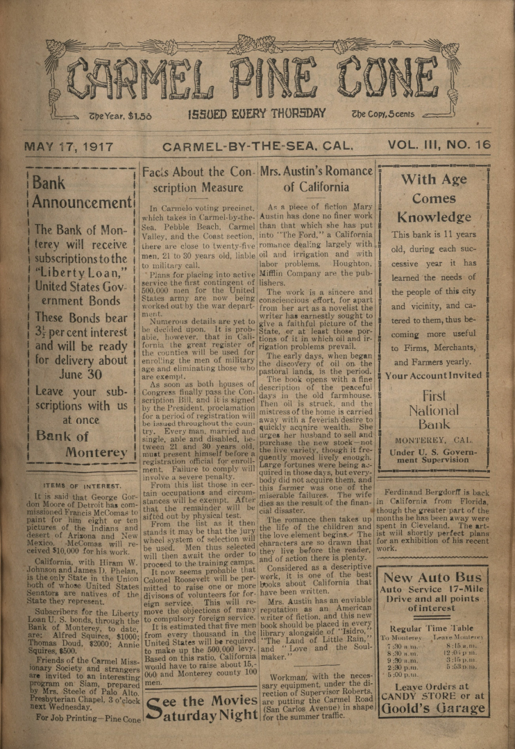 front page of the May                 17, 1917, Carmel Pine Cone