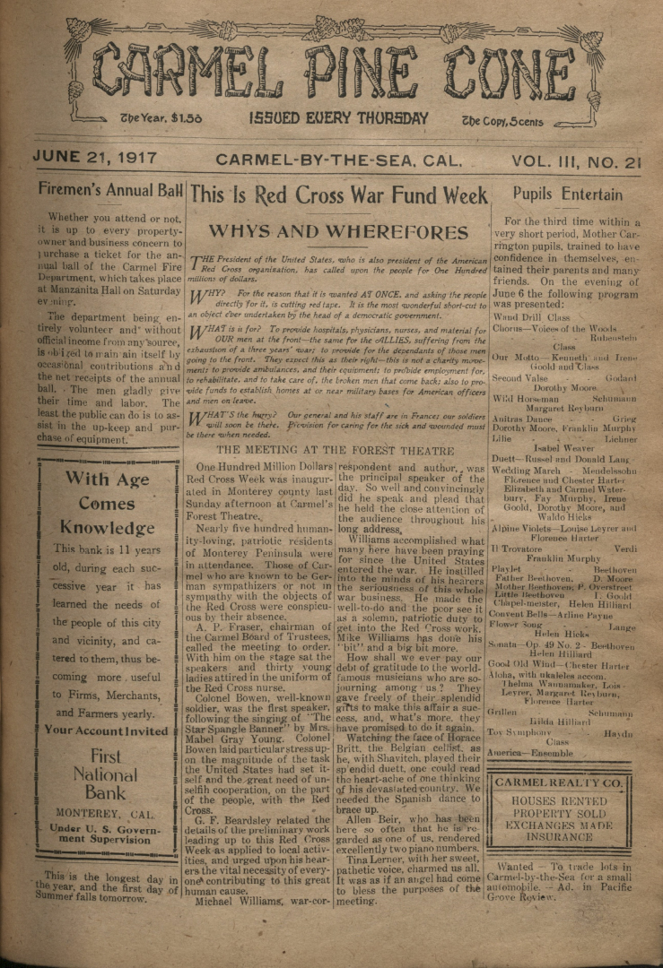 Front page of the                 June 21, 1917, Carmel Pine Cone