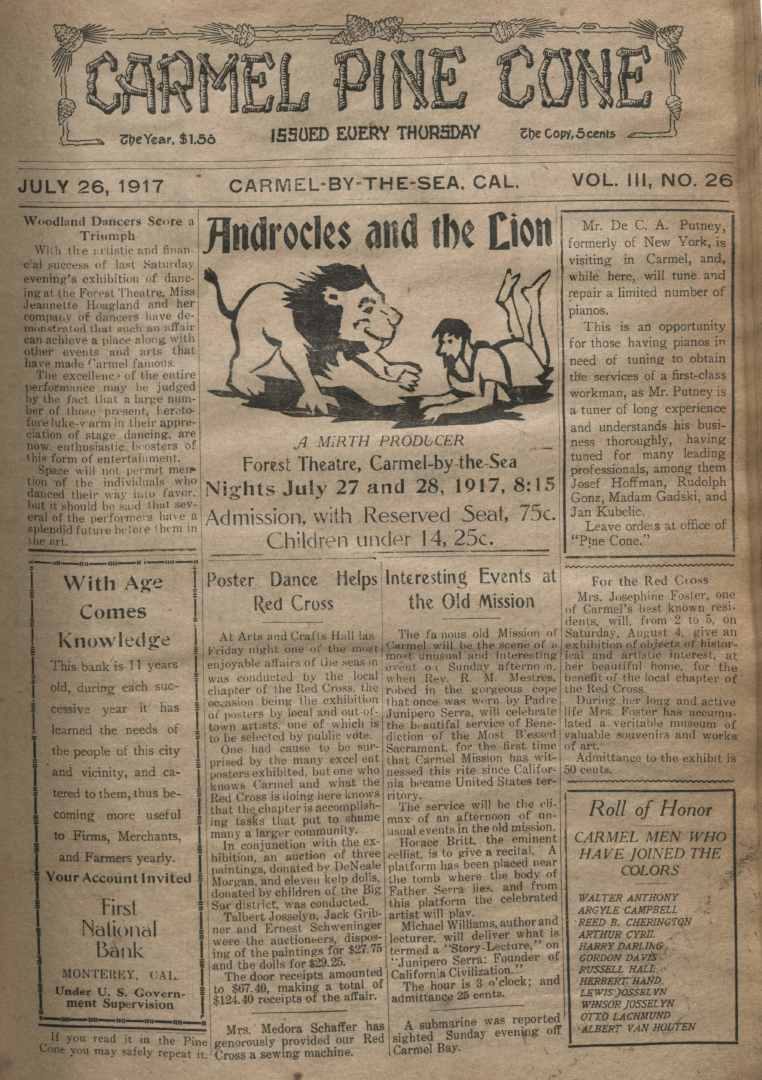 front page of the                 July 26, 1917, Carmel Pine Cone