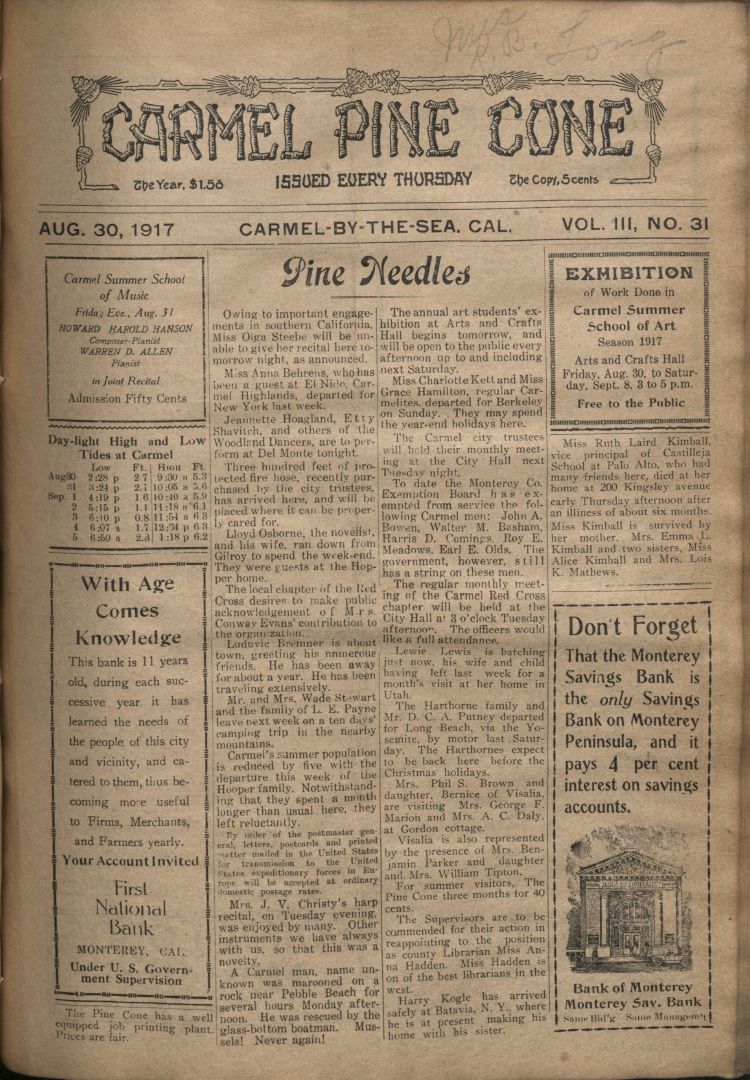 front page of the                 August 30, 1917, Carmel Pine Cone