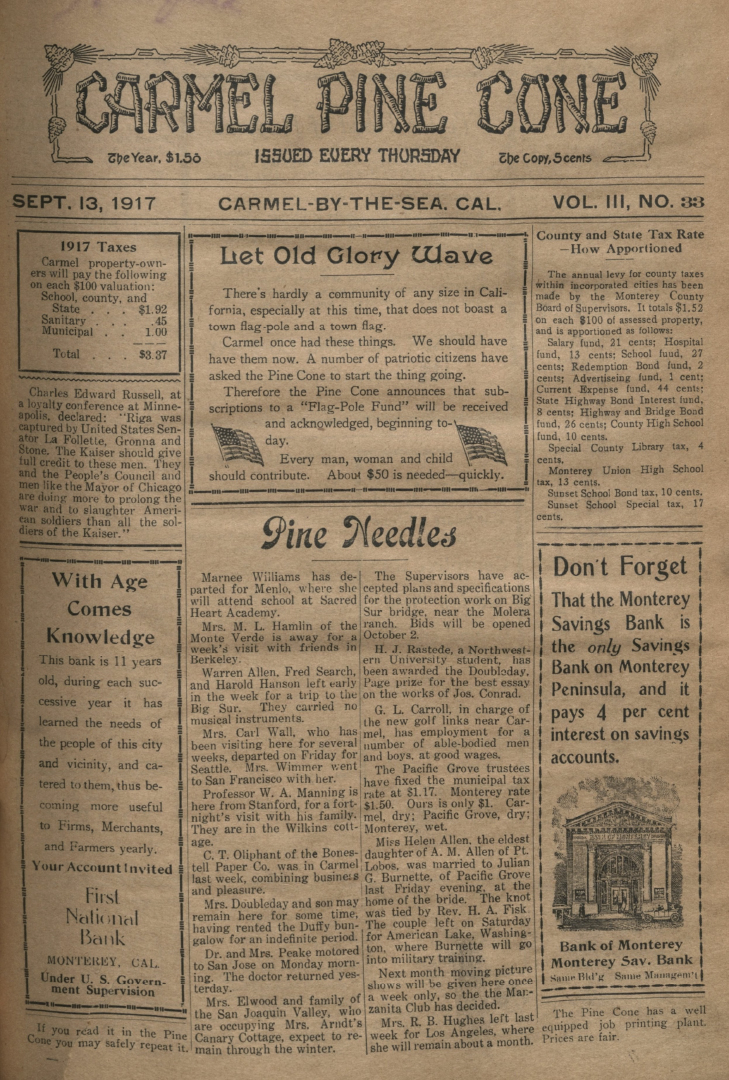 Front page of the                 September 13, 1917, Carmel Pine Cone